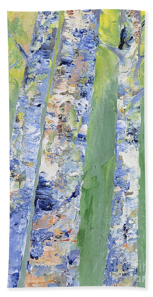 Birch Bath Sheet featuring the painting Birches by Claire Bull