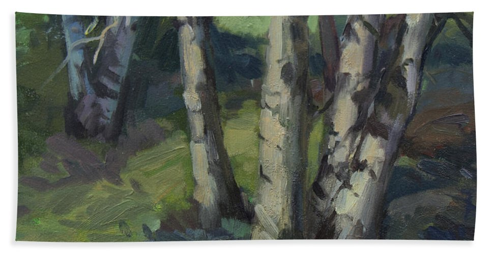 Birches Hand Towel featuring the painting Birches by Diane McClary