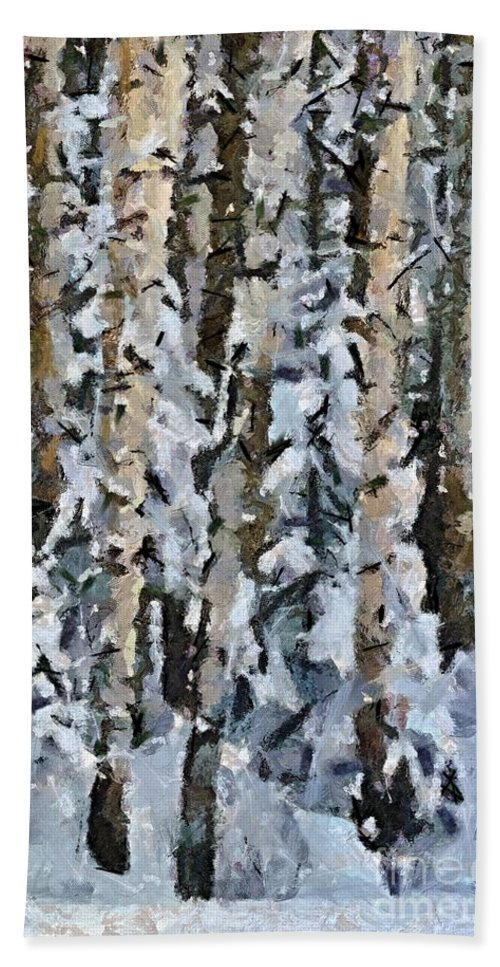 Season Hand Towel featuring the painting Birches In The Winter by Dragica Micki Fortuna