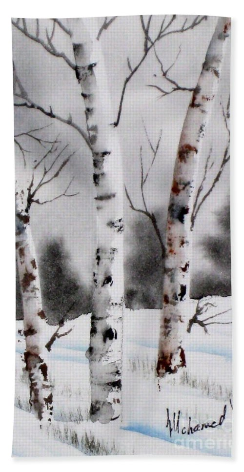 Background Bath Sheet featuring the painting Birches by Mohamed Hirji