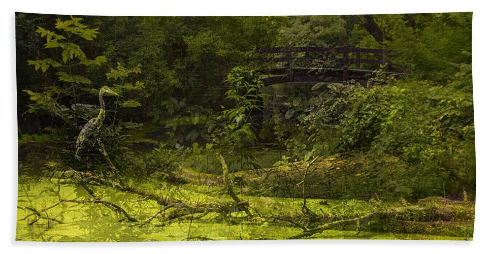 Ambience Bath Sheet featuring the photograph Bird By Bridge In Forest Merged Image by Thomas Woolworth