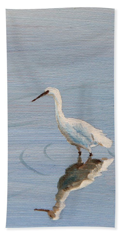 Animals Hand Towel featuring the painting Bird In A Pond by Masha Batkova