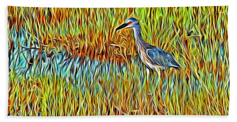Bird Reeds Water Florida Bath Sheet featuring the photograph Bird In The Reeds by Alice Gipson