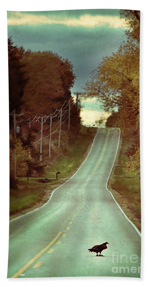 Road Hand Towel featuring the photograph Bird In The Road by Jill Battaglia