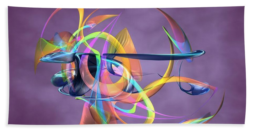 Abstract Art Canvas Prints Hand Towel featuring the digital art Bird-of-paradise - Abstract by Louis Ferreira