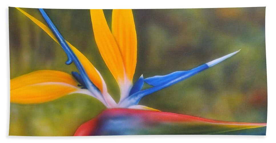 Bird Of Paradise Bath Sheet featuring the painting Bird Of Paradise by Darren Robinson