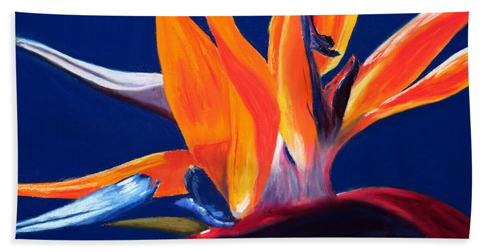 Bird Of Paradise Hand Towel featuring the painting Bird Of Paradise by Mary Benke