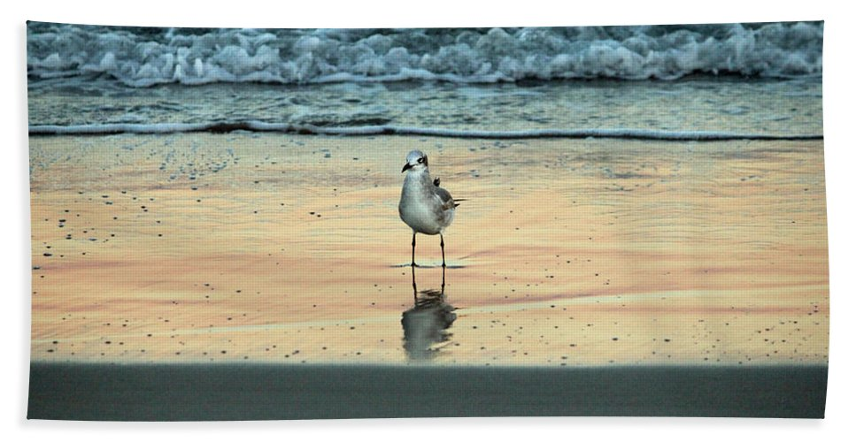 Bird Hand Towel featuring the photograph Bird Reflection by Cynthia Guinn