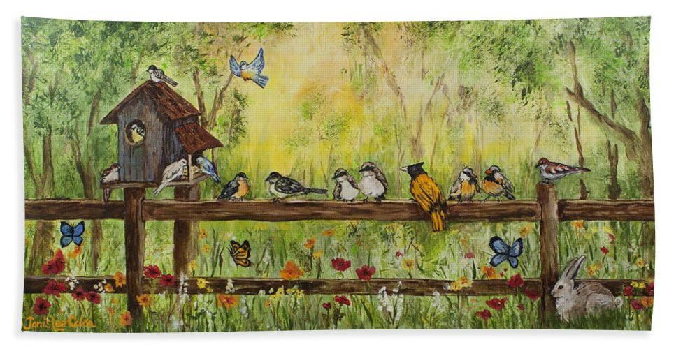 Birds Bath Sheet featuring the painting Bird Song by Janis Lee Colon