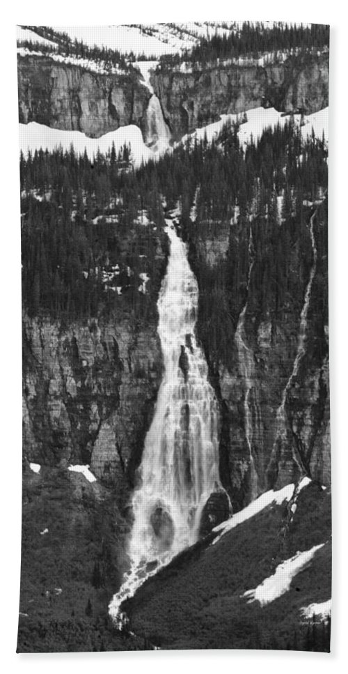Glacier National Park Hand Towel featuring the photograph Bird Woman Waterfalls by Crystal Wightman