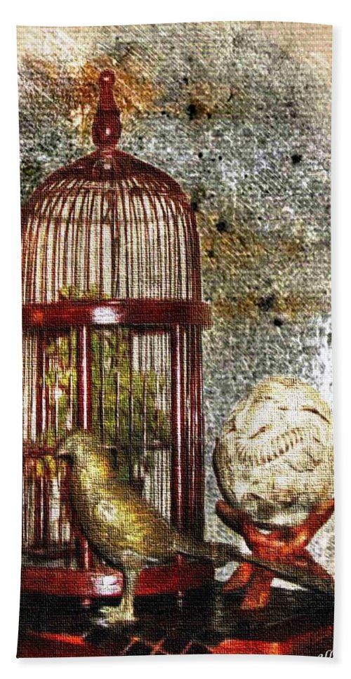 Birdcage Bath Sheet featuring the photograph Birdcage Brass Bird And Carved Stone by Ellen Cannon