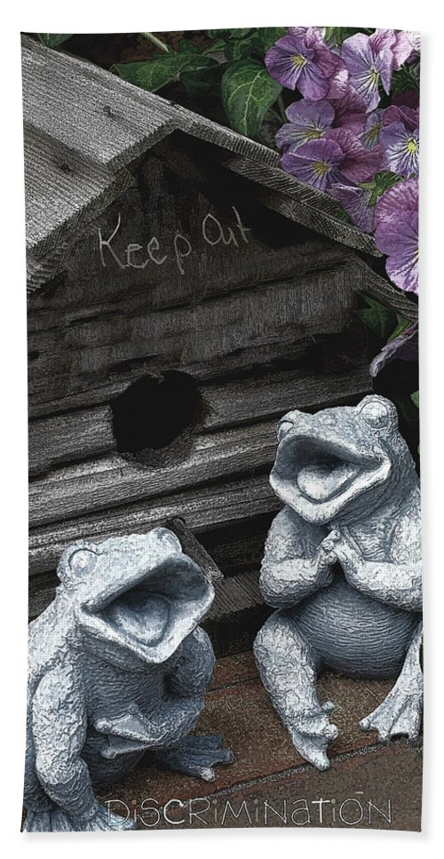 Birdhouse Hand Towel featuring the photograph Birdhouse With Frogs by Bonnie Willis