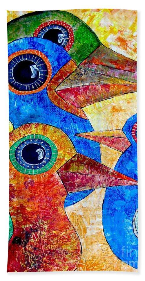Birds Hand Towel featuring the painting Birds 736 - Marucii by Marek Lutek