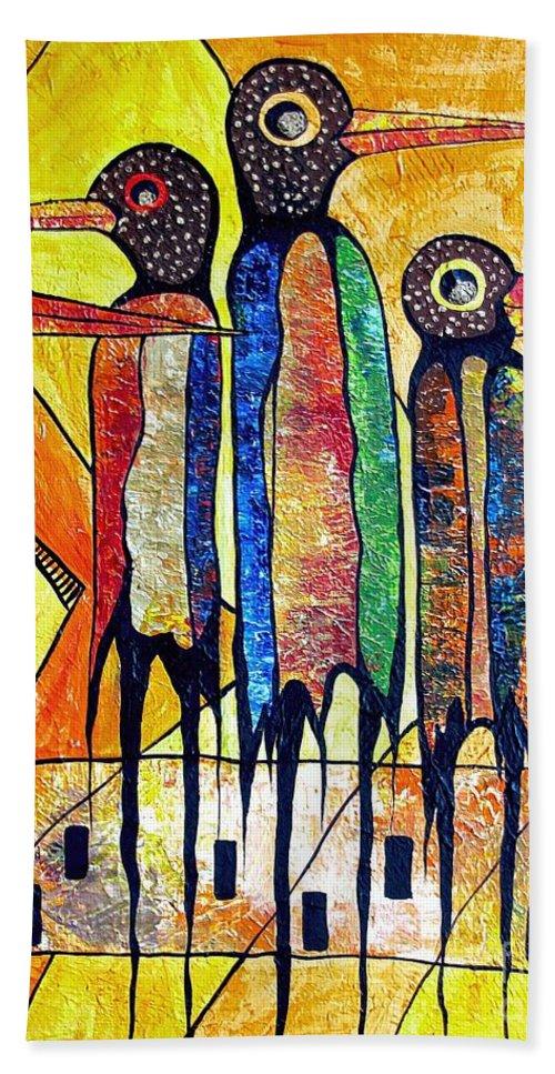 Birds Hand Towel featuring the painting Birds 738 - Marucii by Marek Lutek
