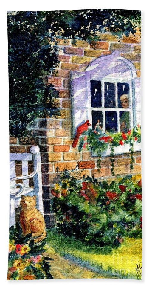Red Birds Hand Towel featuring the painting Bird's Eye View by Marilyn Smith