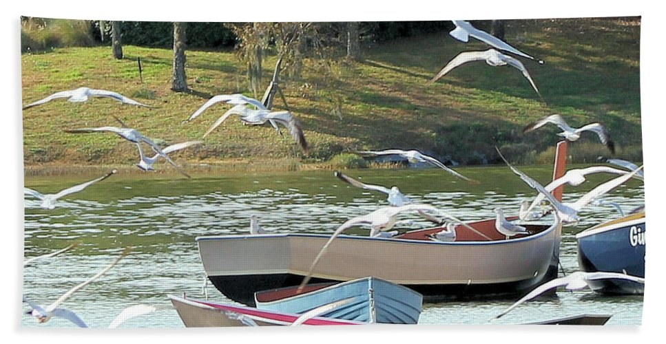 Lake Hand Towel featuring the photograph Birds In Flight At The Lake by Christy Gendalia