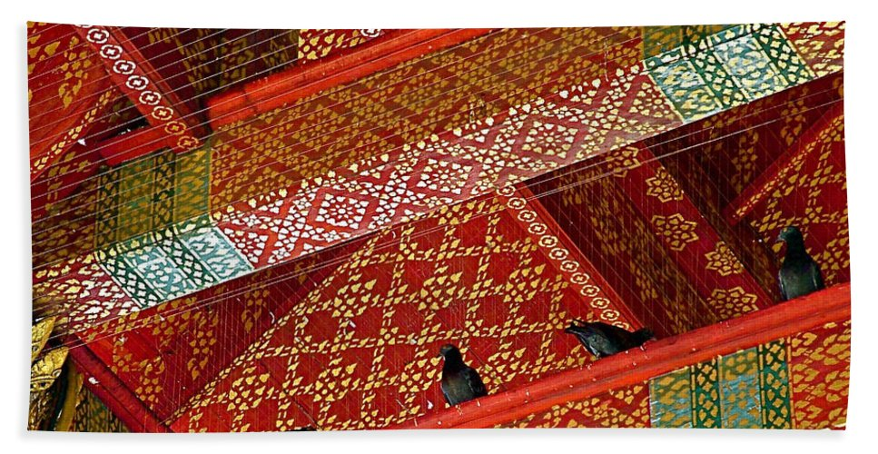 Birds In Rafters Of Royal Temple At Grand Palace Of Thailand In Bangkok Hand Towel featuring the photograph Birds In Rafters Of Royal Temple At Grand Palace Of Thailand by Ruth Hager