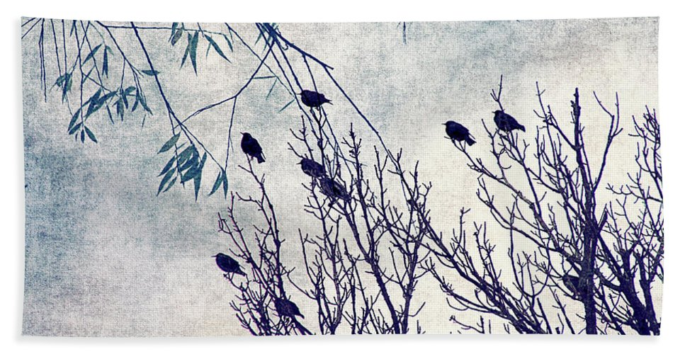 Birds Hand Towel featuring the digital art Birds Of A Feather Flock Together by Cassie Peters