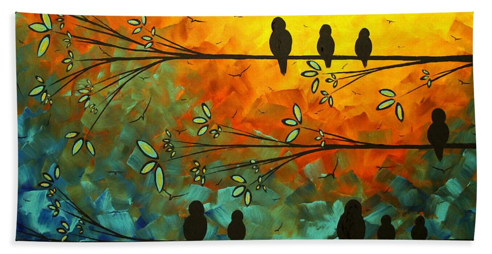 Painting Hand Towel featuring the painting Birds Of A Feather Original Whimsical Painting by Megan Duncanson