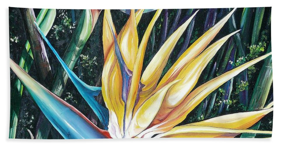 Caribbean Paintings Flower Paintings Bird Of Paradise Paintings  Lily Tropical Paintings Caribbean Flower Paintings Tropical Paintings Tropical Flower Paintings Greeting Card Paintings Canvas Print Paintings Poster Print Paintings Bloom Colorful Hand Towel featuring the painting Birds Of Paradise 2  Sold by Karin Dawn Kelshall- Best