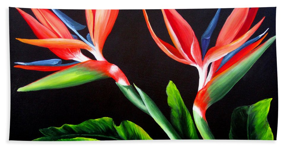 Birds Of Paradise Bath Sheet featuring the painting Birds Of Paradise by Dominica Alcantara