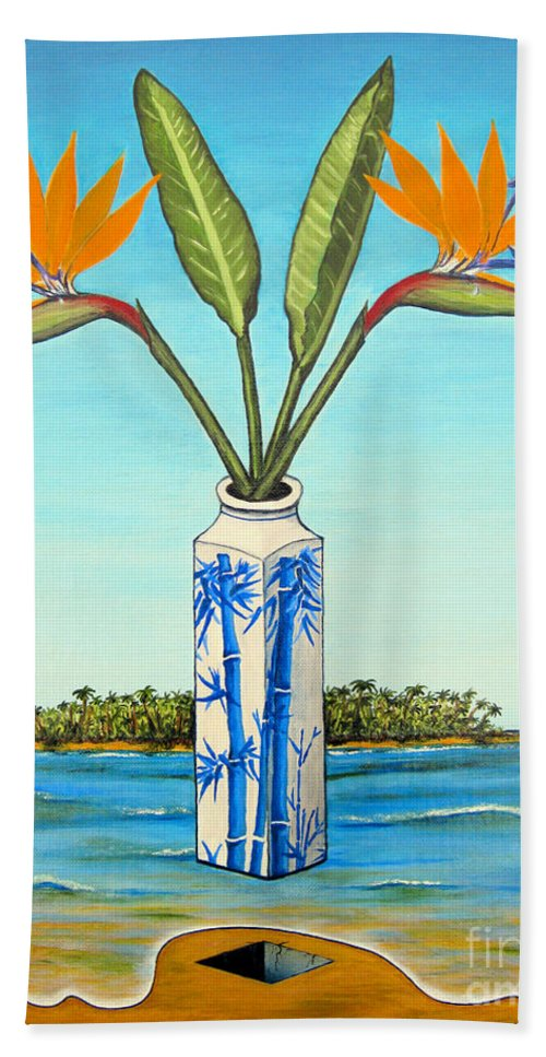 Flowers Bath Sheet featuring the painting Birds Of Paradise Over Fiji by Jerome Stumphauzer