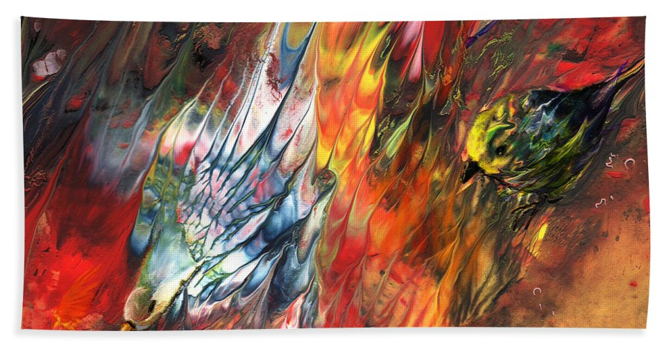 Animals Hand Towel featuring the painting Birds On Fire by Miki De Goodaboom