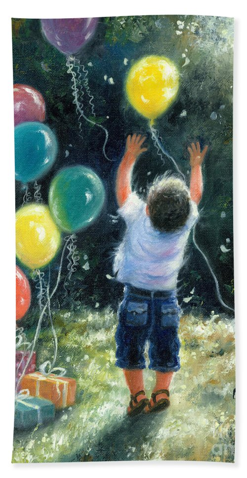 Little Boy Bath Sheet featuring the painting Birthday Boy by Vickie Wade