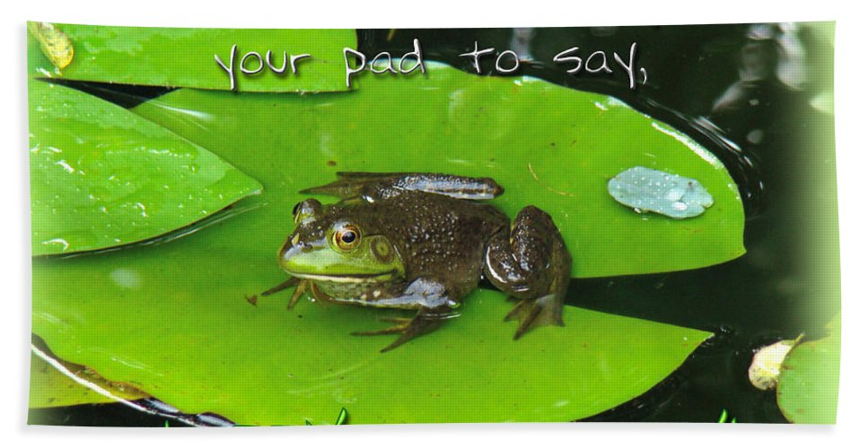 Birthday Hand Towel featuring the photograph Birthday Greeting Card - Bullfrog On Lily Pad by Mother Nature