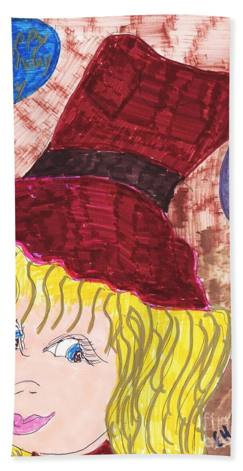 Blonde Haired Blue Eyed Girl At Her Party Bath Sheet featuring the mixed media Birthday Party by Elinor Helen Rakowski