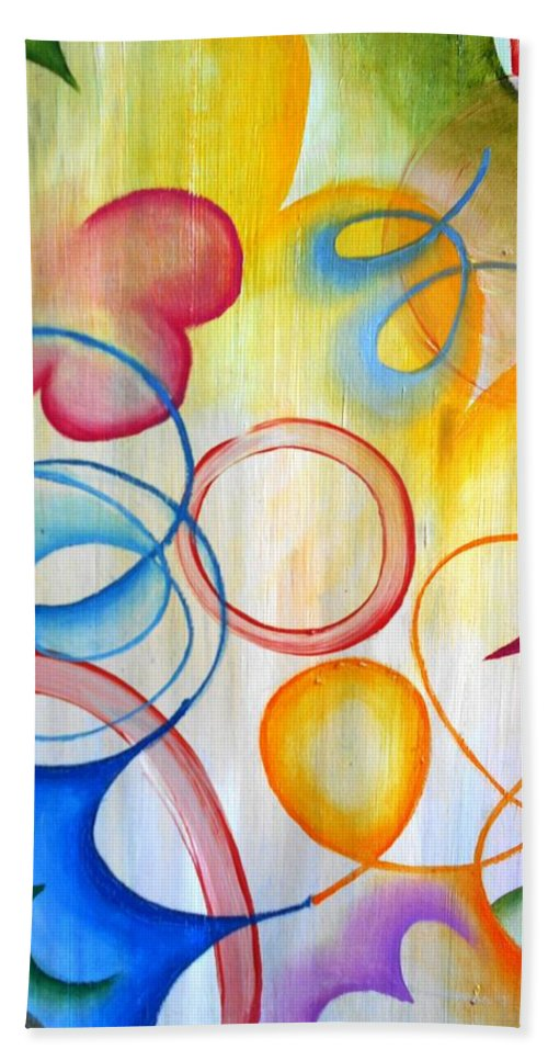 Express Abstractly Emotional Birthday Party Hand Towel featuring the painting Birthday Party by Kristin Kim
