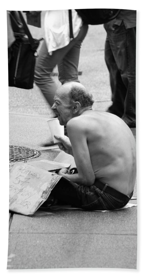 Street Photography Bath Sheet featuring the photograph Birthday Suit by The Artist Project