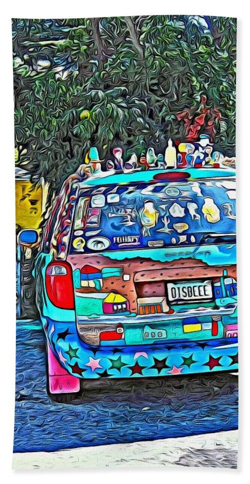 Bisbee Az Art Car Hand Towel featuring the photograph Bisbee Arizona Art Car by Rebecca Korpita