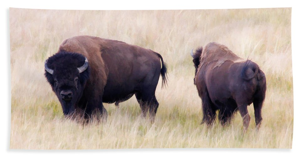Bison Bath Sheet featuring the photograph Bison Painting by Athena Mckinzie
