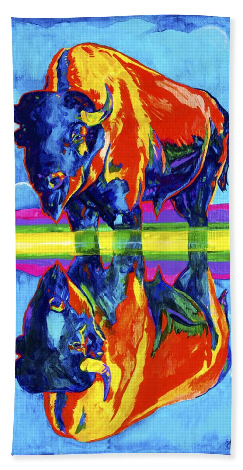 Bison Hand Towel featuring the painting Bison Reflections by Derrick Higgins