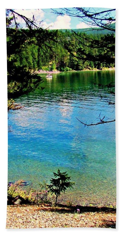 Landscape Photographs Bath Sheet featuring the photograph Bitterroot Lake by Deahn   Benware