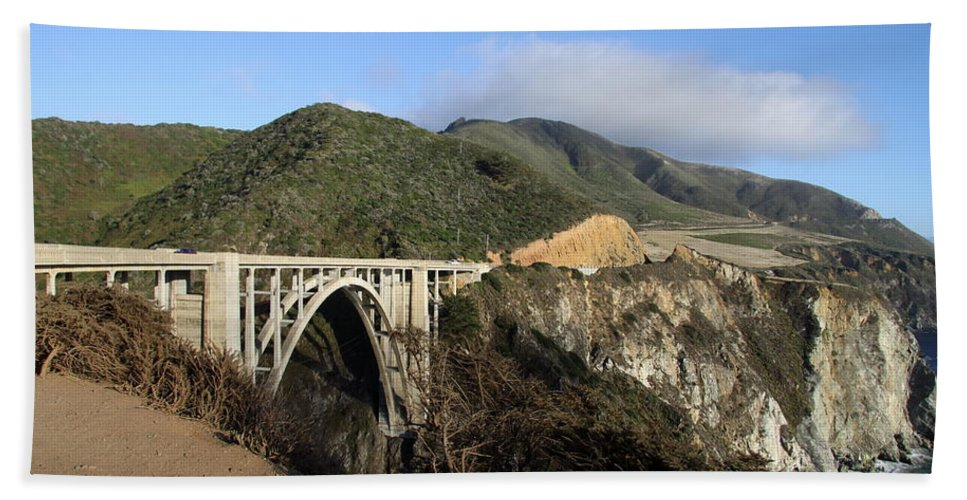 Glorious View Hand Towel featuring the photograph Bixby Creek Bridge by Christiane Schulze Art And Photography