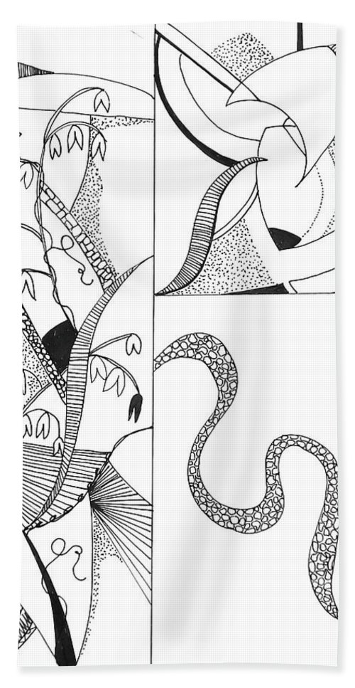 Black And White Bath Sheet featuring the drawing Black And White Abstract #2 by Laura Wilson