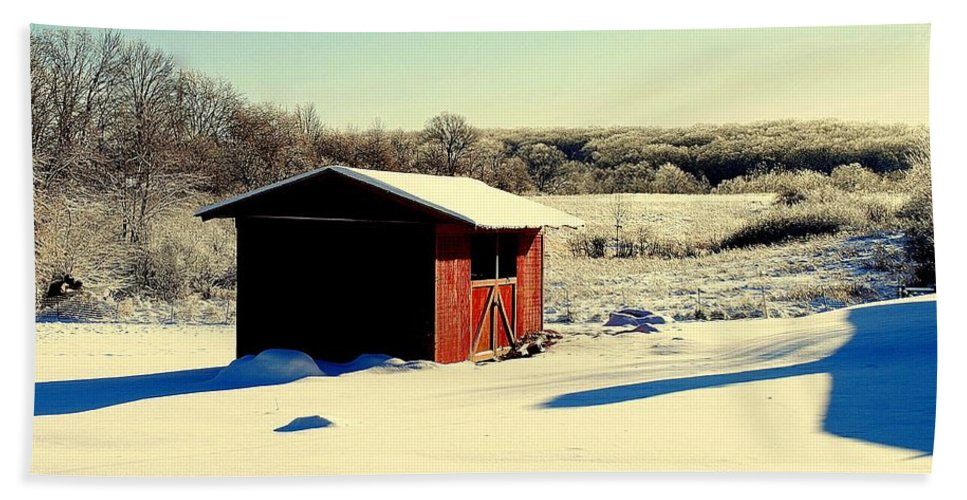 Winter Hand Towel featuring the photograph Black And White And Color by Frozen in Time Fine Art Photography