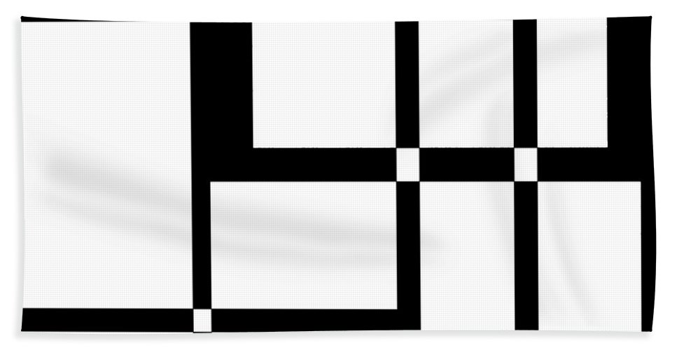 Black Bath Sheet featuring the digital art Black And White Art 173 by Ely Arsha