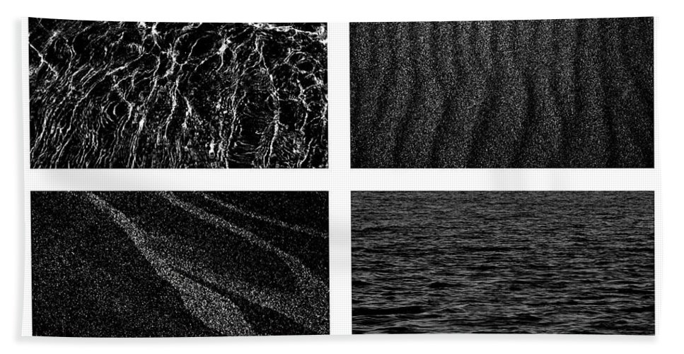 Sand Hand Towel featuring the photograph Black And White Beach by Michelle Calkins