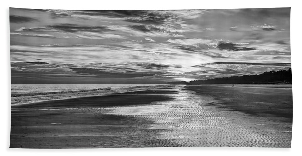 Beach Hand Towel featuring the photograph Black And White Beach by Phill Doherty
