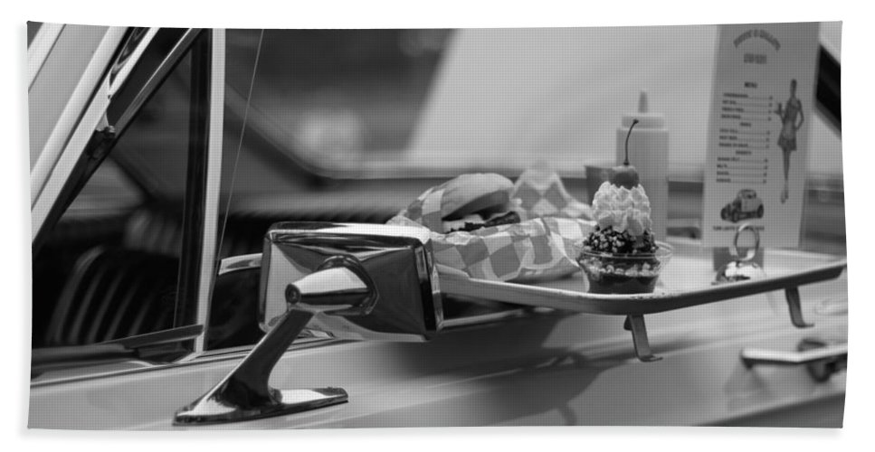 Carhop Hand Towel featuring the photograph Black And White Carhop by Dan Sproul