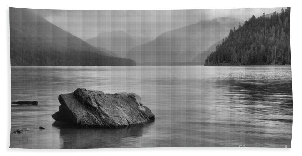 Cheakamus Lake Bath Sheet featuring the photograph Black And White Cheakamus Lake by Adam Jewell