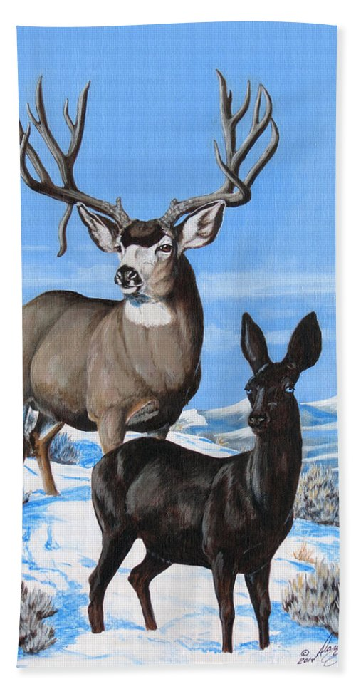 Mule Deer Hand Towel featuring the painting Black And White by Darcy Tate