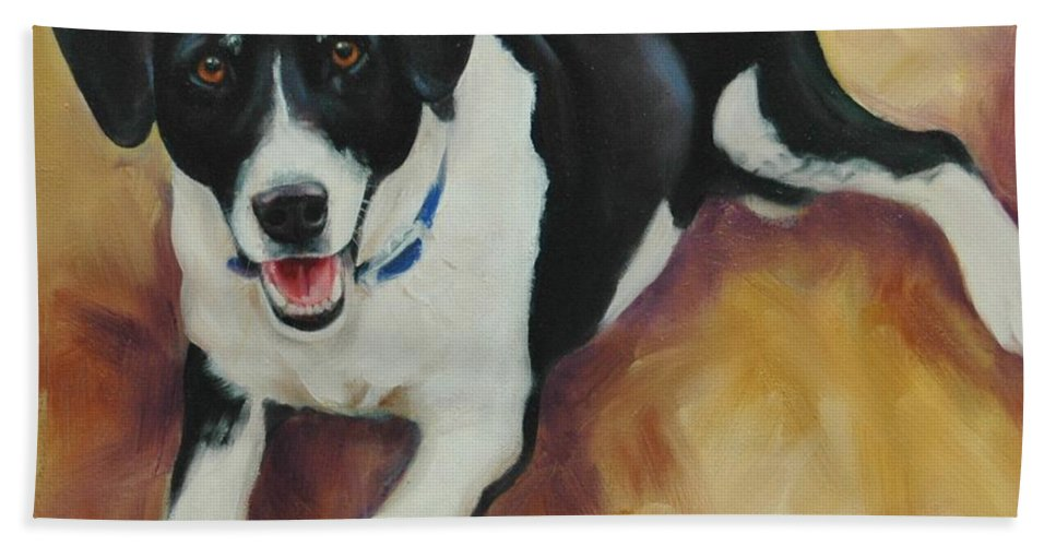 Dog Bath Sheet featuring the painting Black And White Dog by Pet Whimsy Portraits