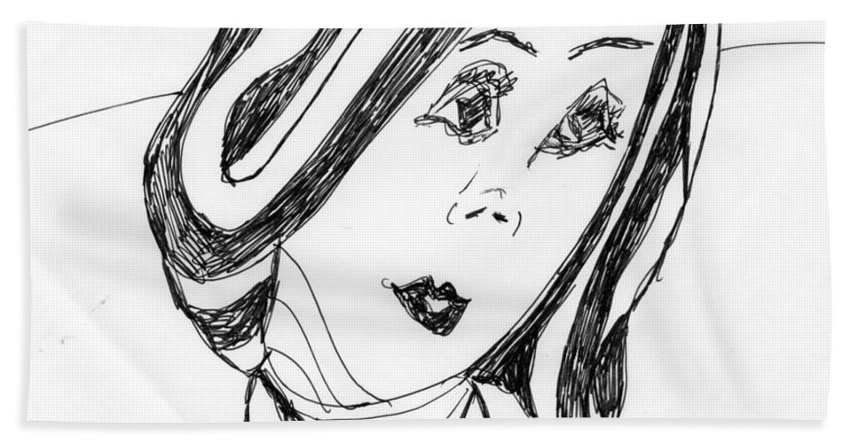 Black And White Portrait Of A Lady. Hand Towel featuring the mixed media Black And White Fashion by Elinor Rakowski