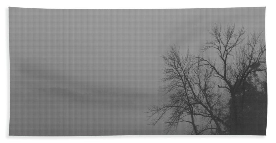 Fog Bath Sheet featuring the photograph Black And White Fog by Dan Sproul