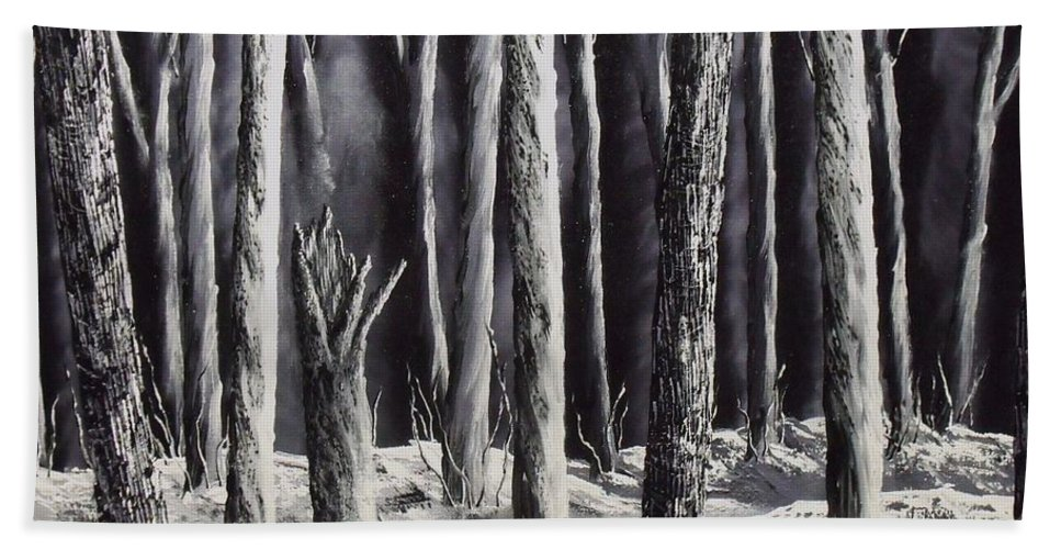 Landscape Bath Sheet featuring the painting Black And White Forest by Don Bowling