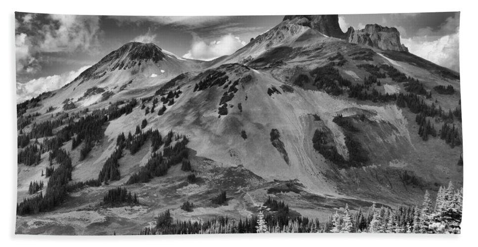 Black And White Bath Sheet featuring the photograph Black And White Garibaldi Black Tusk by Adam Jewell